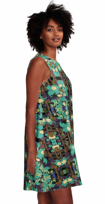 Dress for Summer Work Casual Wedding Guest in a Aqua Green Print Design Pattern Made in the USA