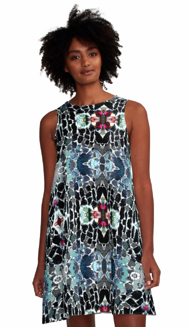 Dress for Summer Work Casual Wedding Guest in a Black White Aqua Print Design Pattern Made in the USA
