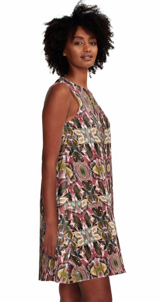 Dress for Summer Work Casual Wedding Guest in a Brown Pink Print Design Pattern Made in the USA