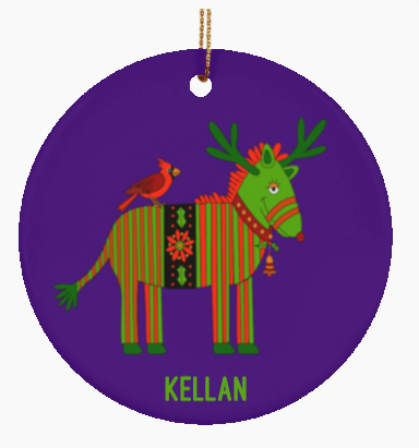Personalized Christmas Zebra with Bird Ceramic Round Ornament