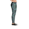 Yoga Leggings in Green Teal Unique Fashion Design Dance Workout Casual Apparel