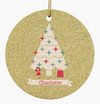 Personalized Christmas Holiday Custom Ornament with Girls Baby Name in Gold