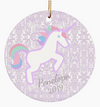 Lavender Unicorn Custom Christmas Ornament with Name for Girls