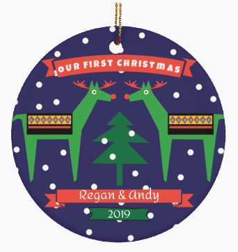 First Christmas Together Reindeer Couple Personalized Ornament