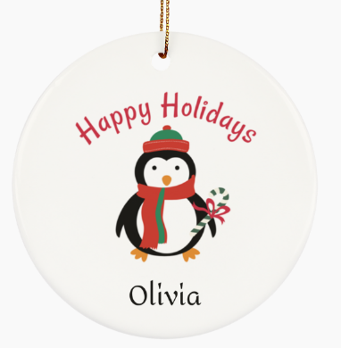 Personalized Penguin Ornament for Baby, Boy or Girl Gift