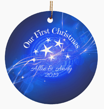 Our First Christmas Couple Personalized Blue Ornament Names Date