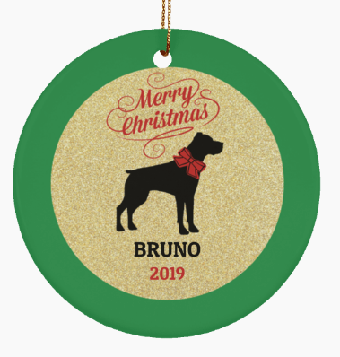 Ceramic Pit Bull Dog Christmas Ornament