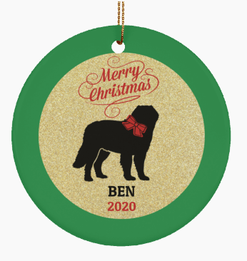 Ceramic St. Bernard Dog Custom Ornament
