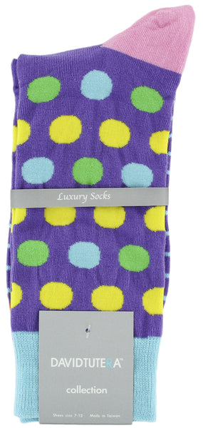 Mens Colored Socks - Fashion Fun Funky Polka Dots Pack of 3 by David Tutera