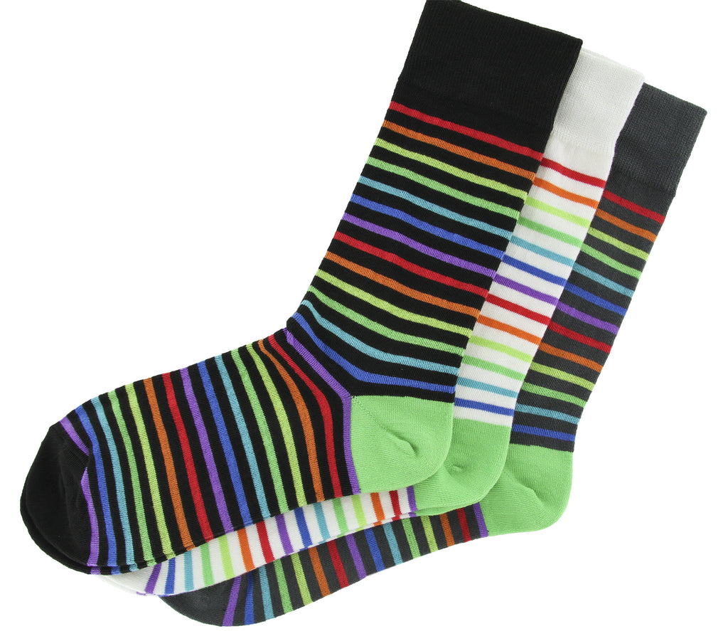 Mens Colored Socks - Fashion Fun Funky Stripes Pack of 3 by David Tutera