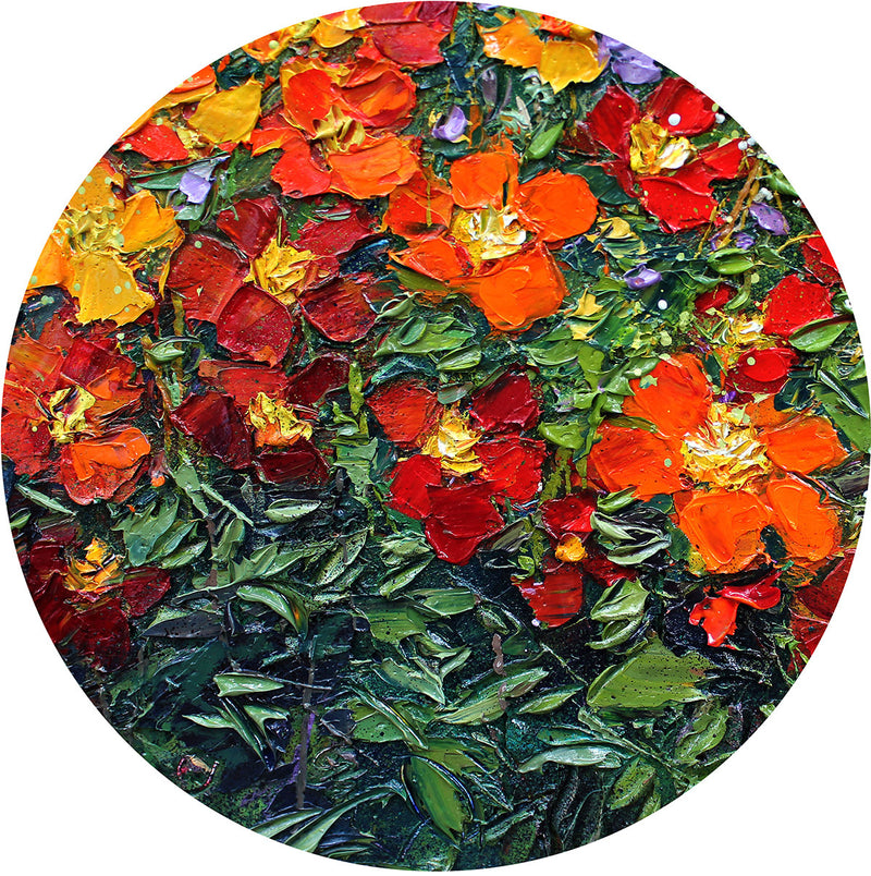 Fine Art Orange and Red Flowers Glass Cutting Board