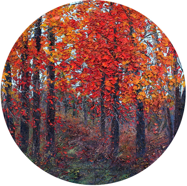 Fine Art Red Autumn Trees Glass Cutting Board