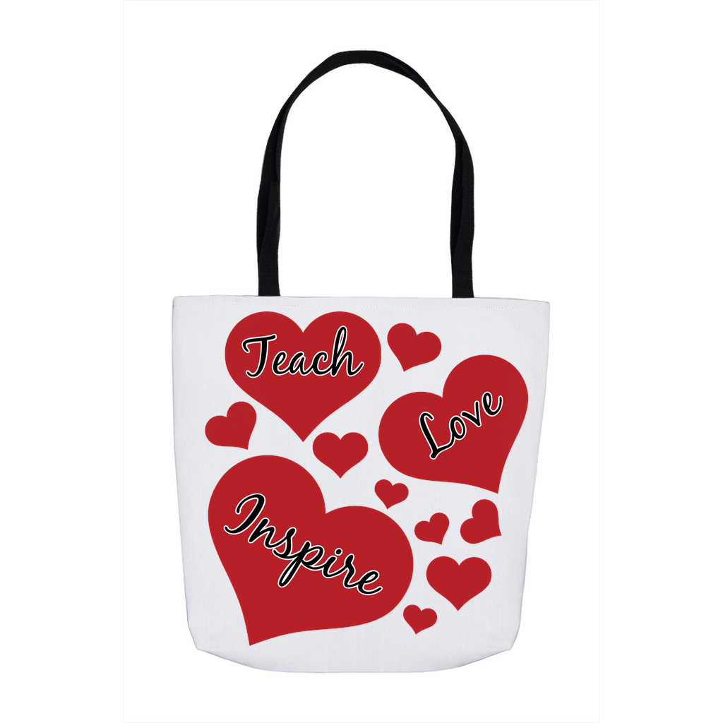 Valentine's Day Totes with Red Hearts For Favorite Teachers Gift