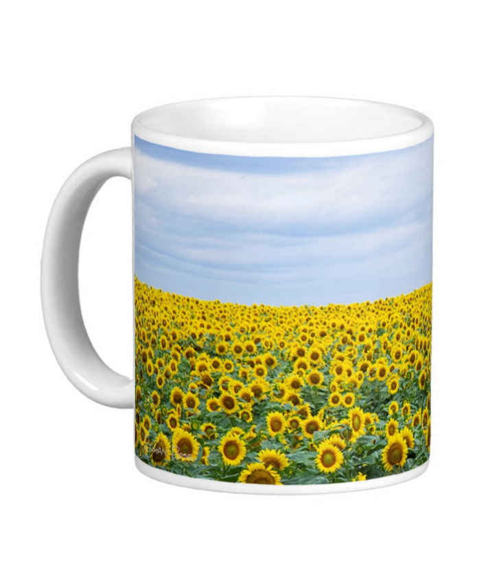 Sunflower Photo Coffee Mug 11 oz White Ceramic Cup