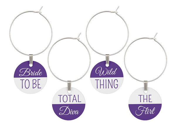 Bachelorette Party Wine Glass Charms - Set of 8 Purple