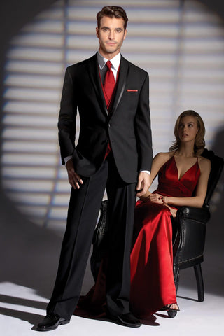 Tuxedo Rental in Black Traditional Notch Lapel  for Wedding, Prom or Formal Occassion