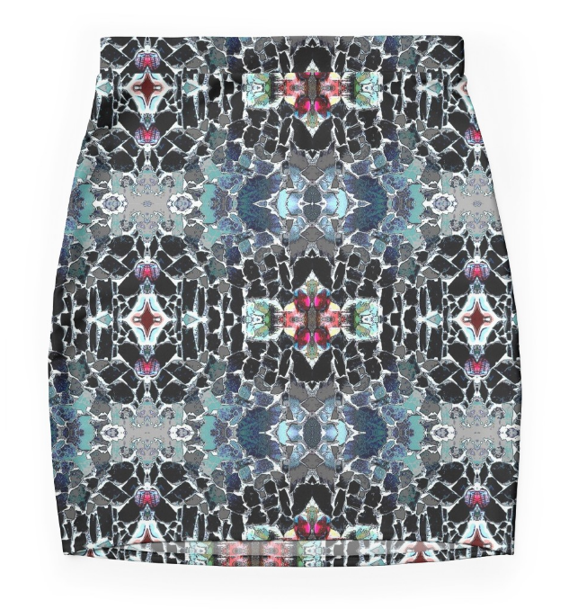 Mini Skirt in Black & Aqua Graphic Design in Stretch Fabric.