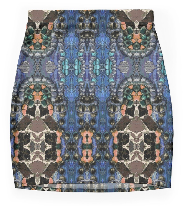 Mini Skirt in a Blue Graphic Design in Stretch Fabric.