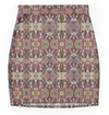 Mini Skirt in Brown Earth Tones Graphic Design in Stretch Fabric.