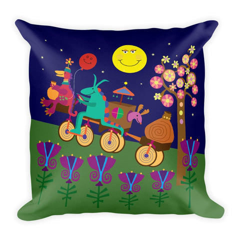 Throw Pillow for Kids Bedrooms, Play Rooms or Nursery Colorful Accents - 18x18""