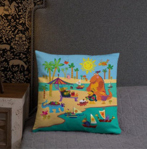"Throw Pillow for Kids Bedrooms, Play Rooms or Nursery Colorful Accents - 18""x18"""