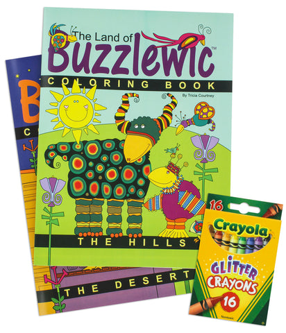 Coloring Books for Children The Land of Buzzlewic - 3 pc Set Hills & Desert + 16 Glitter Crayons