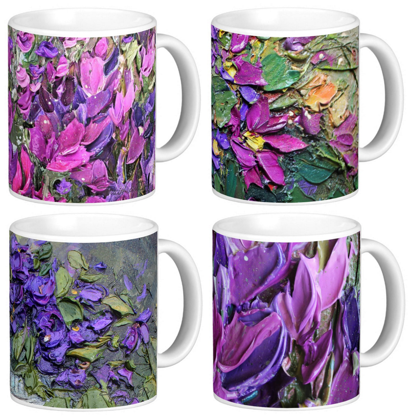 Art Coffee Mug Set of 4 - Pink, Purple Flowers 11 oz White Ceramic Mugs