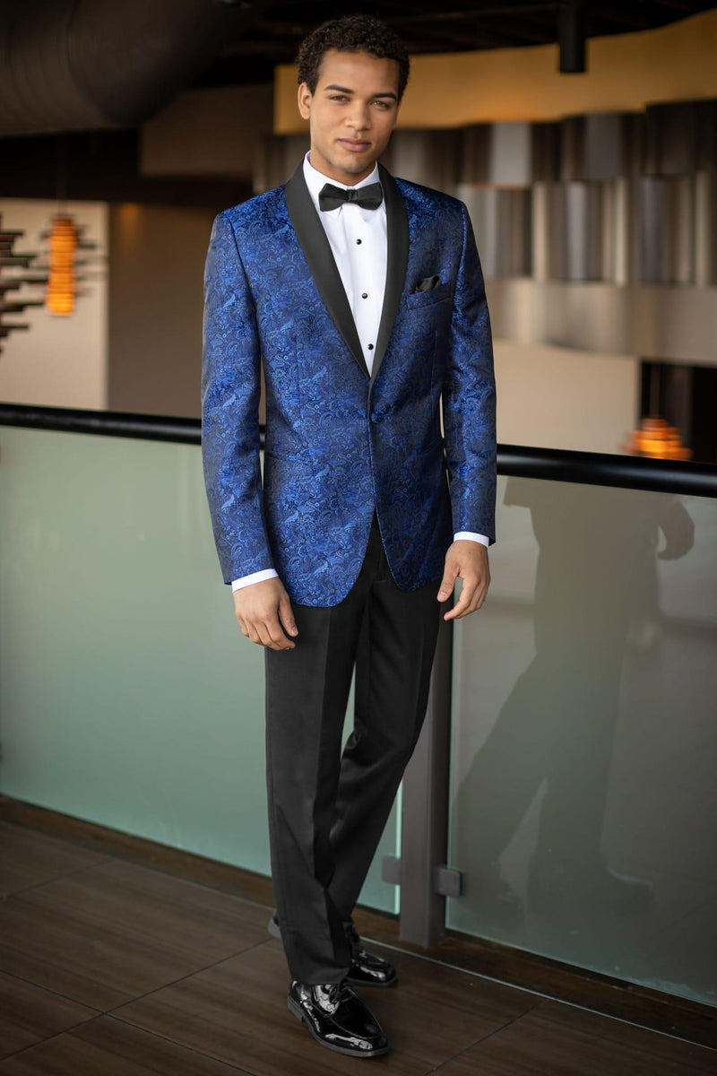 Tuxedo Rental in Royal Blue Paisley for Wedding, Prom or Formal Occassion - Cobalt Aries Paisley Slim Fit Tux