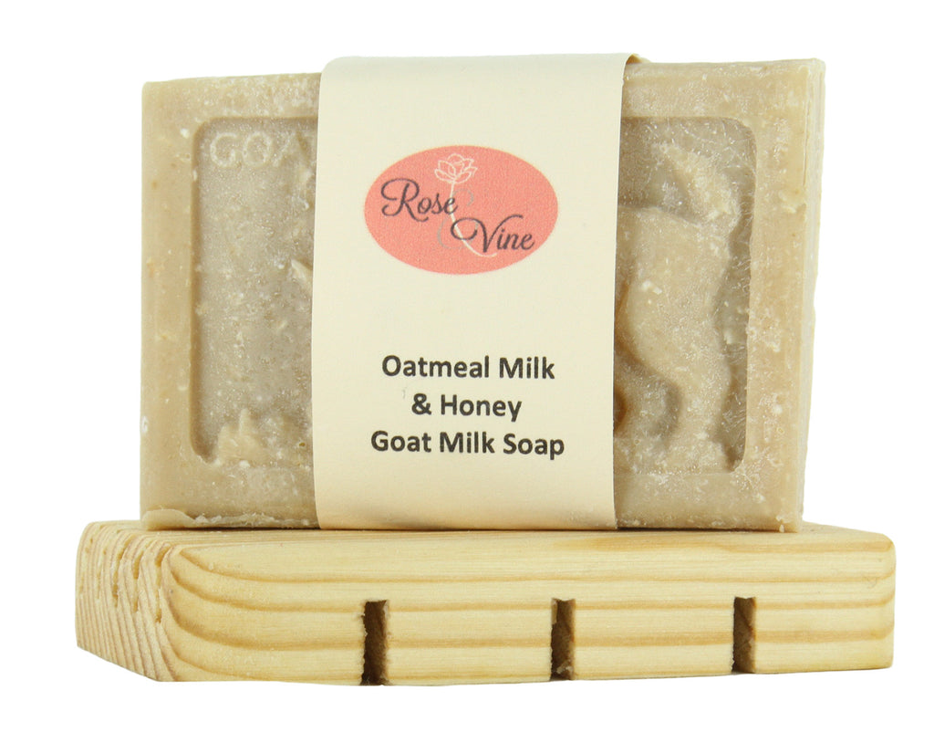Goat Milk Soap Handmade Natural (1 Bar & Soap Dish, Oatmeal Milk & Honey)