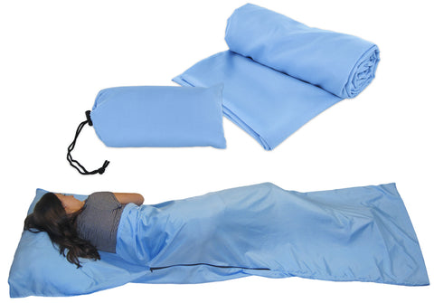 Hostel Sleep Sack for Travel and Camping and Backpacking Sleeping Bag Liner Lighweight Sheet - Blue