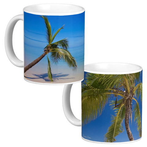 Photo Art Coffee Mug Set of 2 - Palm Tree Beach