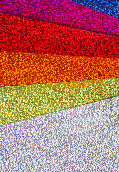 "Glitter Vinyl Sheets Iridescent Holographic 17 Color Sheets 8"" x 12"" Scrap"