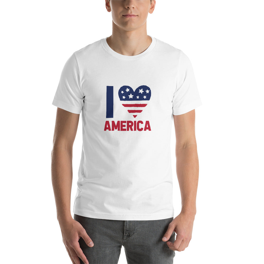 I Love America Freedom Shirt American Heart Flag Clothing Patriotic Shirts American Pride Stars and Stripes Proud to be an American T-Shirt