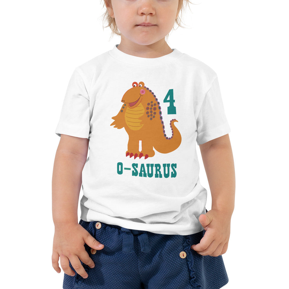 Girls 4th Birthday Shirt 4 Year Old Shirt Fourth Birthday Shirt Boys and Girls Orange Dinosaur Birthday Shirt Gift for Kids