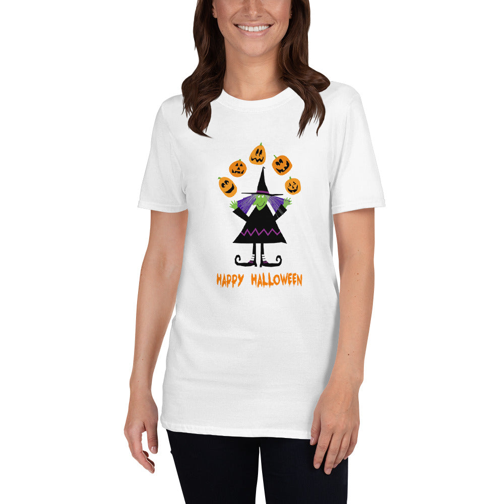 Witch Clothing Halloween Shirt for Women Witch Shirt with Fun Witch and Pumpkins and Jack-O-Lanterns White Trick or Treat Halloween T-Shirt