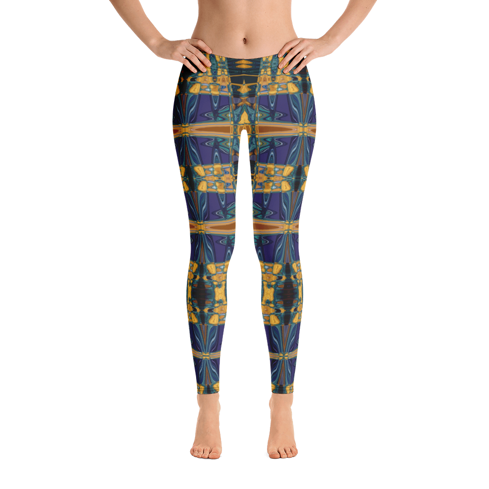 Yoga Leggings in a Blue & Gold Unique Fashion Design Dance Workout Casual Wear