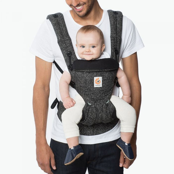 Baby Carrier Newborn to Toddler Lumbar Support Adjustable Omni 360 - Herringbone Grey