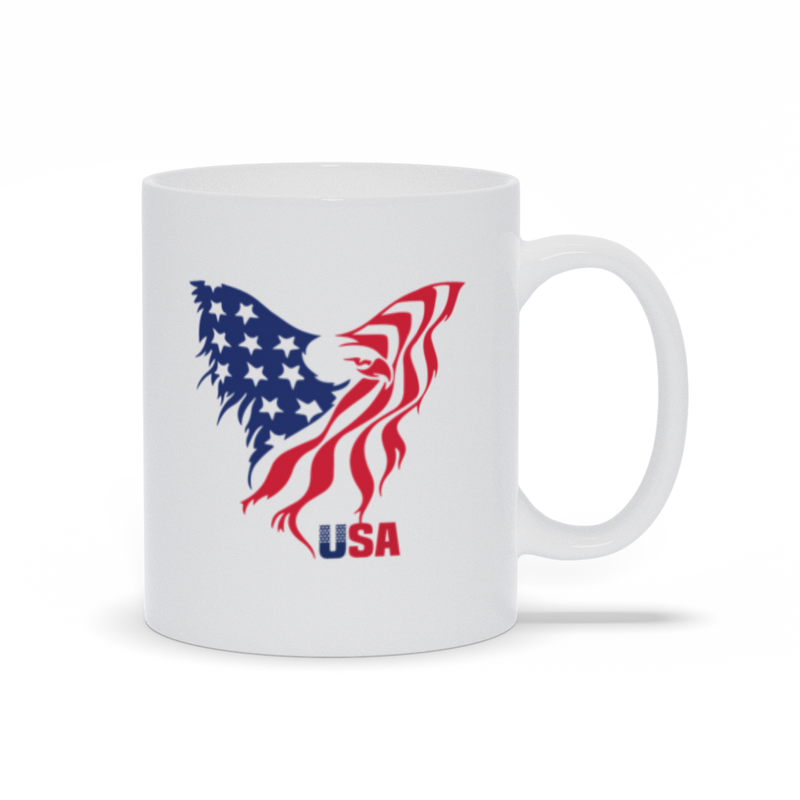 Coffee Mug, Coffee Cup, Flag, Eagle, USA, Patriotic Gift, Red White Blue, Coffee Lovers, Tea Mug, Patriotic Mug, Flag Mug, Gift Mug