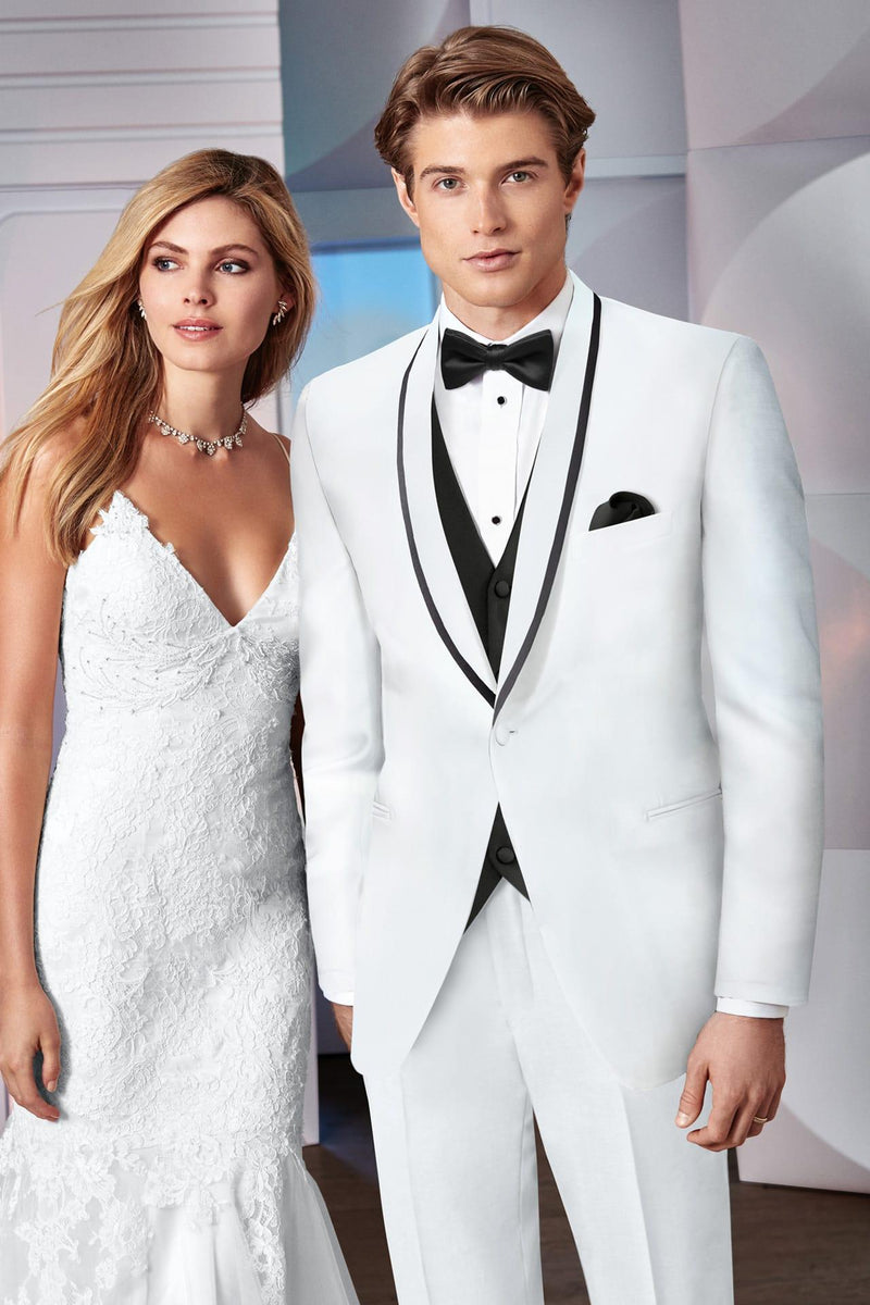 Tuxedo Rental White Shawl Collar Coat for Wedding, Prom or Formal Occassion