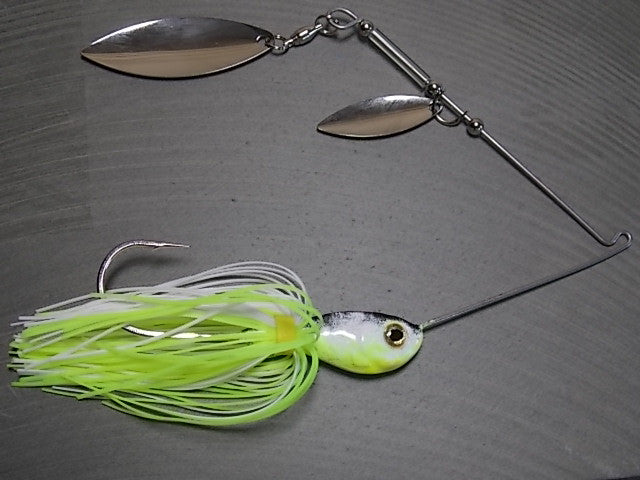 Spinnerbaits, Double Willow: Chartreuse/ White