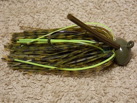 Football Head Jigs:Green Whiskey/ Chartreuse