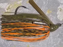 Swim Jigs: Tournament Line: Green Pumpkin/Whiskey/Orange