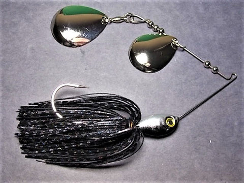 Colorado Double Deep Cup Spinnerbait: Black Firecracker/ Silver Back