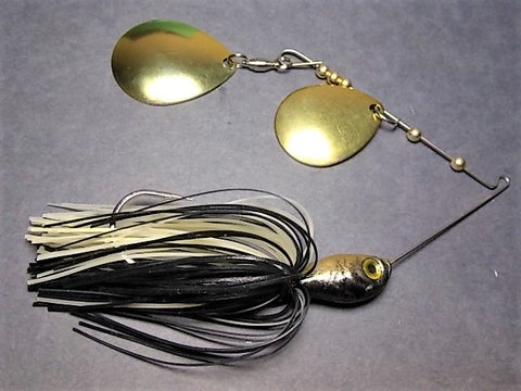 Colorado Double Deep Cup Spinnerbait: Black/ Gold Back