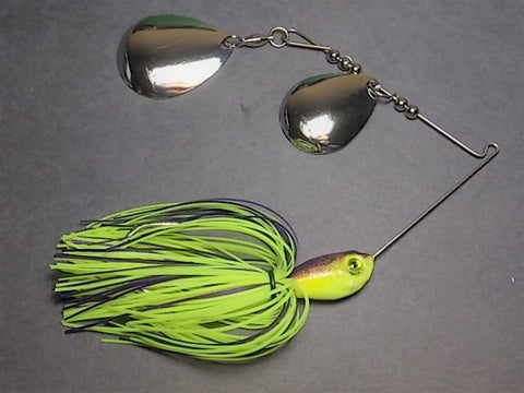 Colorado Double Deep Cup Spinnerbait: Hal's Chartreuse/ Purple