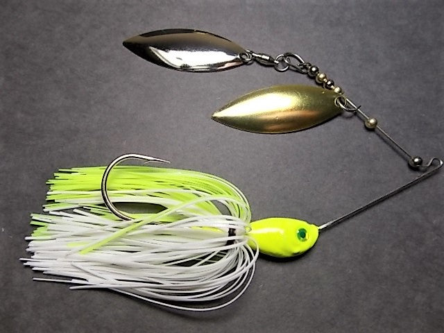 Spinnerbaits, Double Willow: Chartreuse/ White, Nickel and Brass Blade