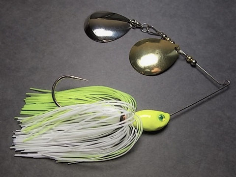 Colorado Double, Deep Cup Spinnerbaits, Double Colorado: Chartreuse/ White, Nickel and Brass Blade