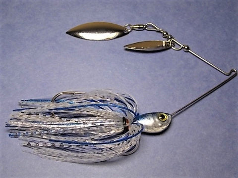 Double Willow Spinnerbait, Clear Water Series: Clear, Silver/ Blue