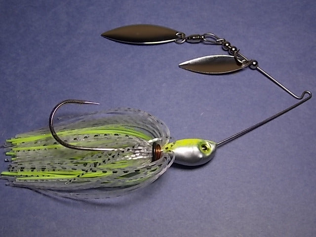 Double Willow Spinnerbait, Clear Water Series: Clear, Silver/ Chartreuse