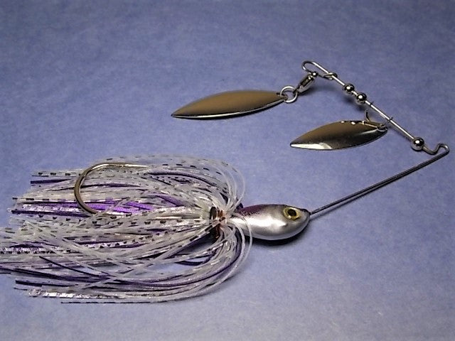 Double Willow Spinnerbait, Clear Water Series: Clear, Silver/ Purple